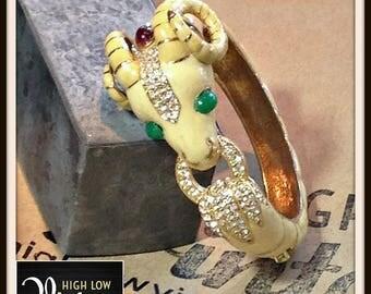Vintage Ciner Ram Enamel Bangle Bracelet FREE SHIPPING
