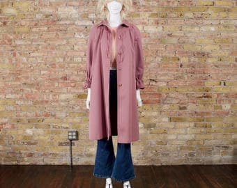 70s mauve trench coat / 70s jacket / long rain coat / 70s trench coat / trapeze trench coat / minimalist / statement sleeves / 70s rain coat