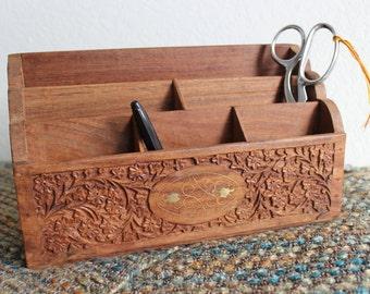 Wood Carved Bohemian Style Desk Organizer