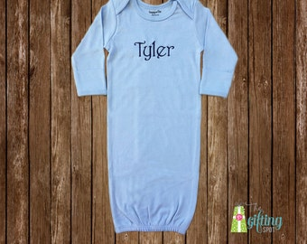 Monogrammed Baby Boy Gown, Personalized Baby Gown, Baby Gift, Baby Name Gown, Baby Shower Gift, Baby Gown with Name or Monogram