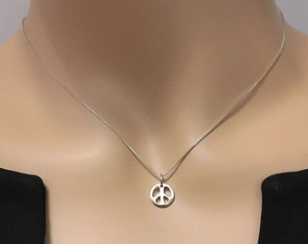Sterling Silver Peace Sign SUPERIOR QUALITY Minimalist Tiny Petite Solid 925 Sterling Silver Necklace