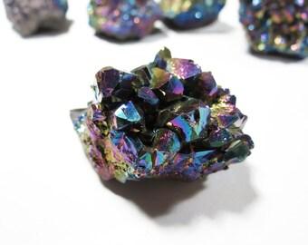 Raw Titanium Amethyst Crystal Geode, Amethyst Quartz Cluster, Titanium Amethyst Crystal Cluster Specimen, Titanium Crystal, Raw Crystal