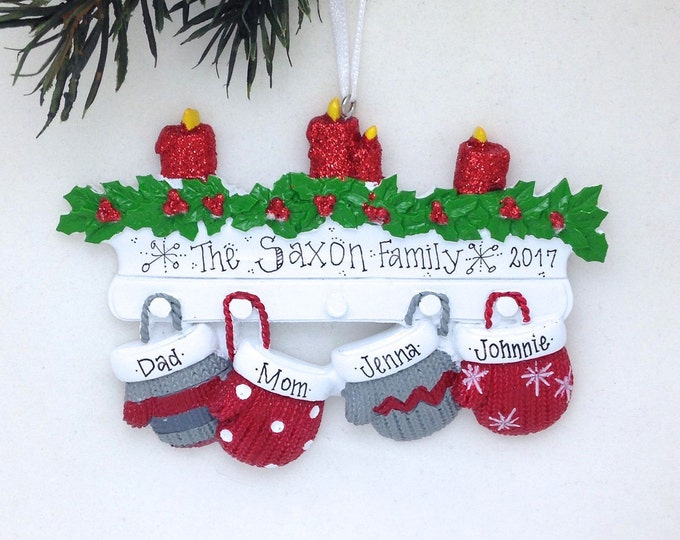 Featured listing image: FREE SHIPPING 4 Family Mittens Ornament / Personalized Christmas Ornament / Family of Four Mittens on Mantel / Christmas Ornament
