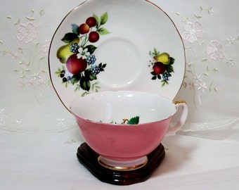 Vintage 1950s, Pattern RGR68 by Royal Grafton  Pink Cup, Fruit Center, With a Duchess Saucer Fruit, Gold Accents