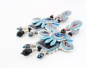 Long boho chandelier earrings, grey blue soutache earrings, big silver earrings