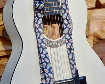 Skulls Guitar Strap or Mandolin or Ukulele Strap | Acoustic or Electric Guitar Strap | Music Instrument Strap | Sugar Skull Guitar Strap