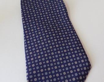 1990s Mallory & Church Necktie Tie Foulard Navy Light Blue Beige USA