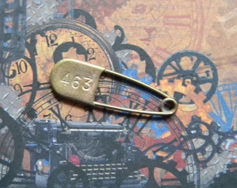 Cool Vintage Brass Numbered Safety Pin. 2 Inches Long. For Creative Crafting and Re-Purposing