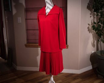 Vintage Red Knit Dress, Paul of California Drop Waist Dress