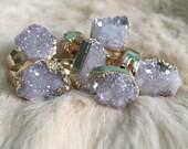 Angel Aura Druzy Cluster Ring Angel Aura Druzy Quartz Ring Cluster Adjustable Jewelry Gold Large Raw Quartz Angel Aura Druzy Quartz Stone