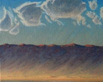 Desert Sandstorm - original landscape painting - plein air - oil - sunset - sky - contemporary - small - square - clouds - 6x6