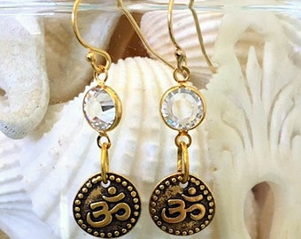Small Gold Plated Brass OM/AUM and Crystal Earrings - Little OM Symbol Earrings - Yoga or Spiritual Jewelry