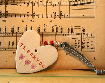 Thank you Pottery Heart, Say it with a heart which can be kept much longer than a card. Handmade in my pottery studio in Sussex.
