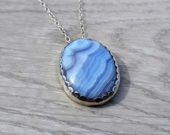 Blue Lace Agate Sterling Silver Pendant Necklace