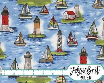LIGHTHOUSE Fabric by the Yard, Fat Quarter SAILBOAT Fabric BLUE Fabric Beach Fabric Apparel Fabric 100% Cotton Fabric Quilting Fabric w3-21