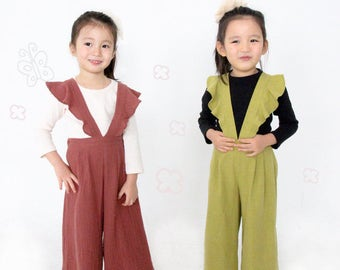 kid's sewing pattern pdf/Frill suspender pants/Jumper suit/ baby sewing pattern/ children clothing/Toddler sewing pattern/12M-6years