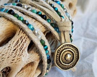 White Suede Wrap Bracelet, Leather 5 Wrap Bracelet, Leather Beaded Bracelet