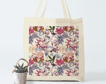 Pink Botanical. Tote Bag, canvas bag, groceries bag, yoga bag, shopper bag, laptop bag, gift for women, gift for coworker, novelty gift.
