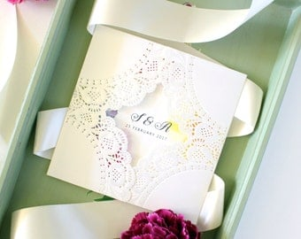 Spring Wedding Invitation, Colorful Wedding Invitation, Square Wedding Invitation, Lace Wedding Invitations Australia