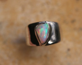 Very Colorful Ethiopian Fire Opal Ring, Size 10, Wide Band Ring, Sterling Silver Setting, Solid Opal Ring,  Welo Opal WOR30