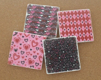 Set of 4 Tumbled Marble Tile Coasters - Valentine's Day
