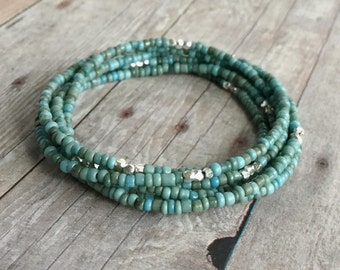 Turquoise Necklace or Multi Wrap Bracelet / Blue Green Seed Bead Bracelet / Tiny Bead Necklace / Custom Length Women's Jewelry