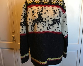 Hand Knit Wool Ski Sweater/Medium/Navy Blue Red Yellow White/Deer/Limited America Collection/Elk/Scandianvian/Jumper/Holiday Sweater
