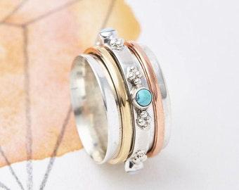 Spinner Rings,Fidget Rings, Worry Rings,Thumb Rings,Meditation Rings, Spinning Rings, Turquoise Boho Silver Rings,Spin Rings JR055