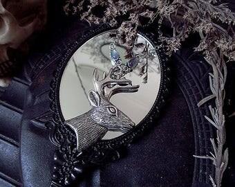 Stag Pendant, Labradorite Deer Pendant, Winter Pendant, Forest Pendant, Spirit Animal Pendant