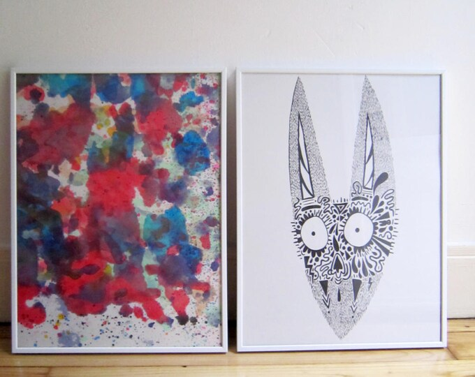 Duo digital print and abstract painting
