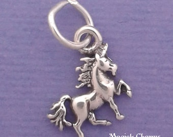 UNICORN Charm .925 Sterling Silver Horse MINIATURE Small - elp684