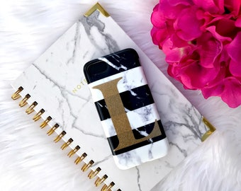 Marble Stripe iPhone Case with Large Initial | iPhone 7 | iPhone 7 Plus Case | Personalized | Gift