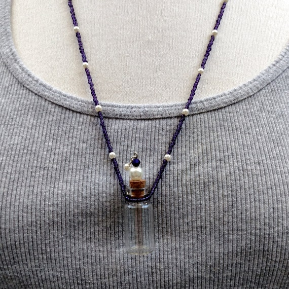 Mojo Bottle Necklace,Essential Oil Necklace, Purple Czech Glass Beads and Pearls Bottle Necklace, Glass Perfume Pendant