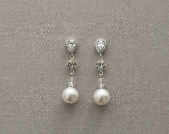 CLAIRE | Bridal Earrings, Wedding Earrings, Rhinestone Earrings