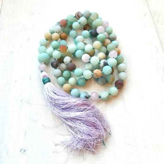 Colorful Amazonite Mala Beads, Silk Tassel Mala Necklace, Long Tassel Mala Beads, 108 Bead Mantra Mala, Yoga Mala Necklace, Healing Jewelry
