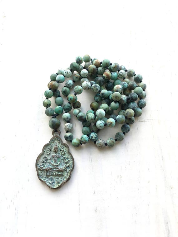 Buddha Pendant Mala Beads, African Turquoise Mala Necklace, Knotted 108 Bead Mala, Buddha Necklace, Yoga Meditation Beads, Yoga Jewelry