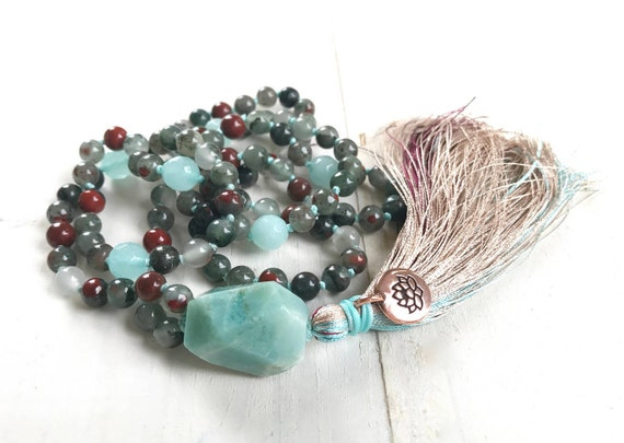 Mala Beads For Courage, Bloodstone Mala, Root Chakra Mala Necklace, Amazonite Guru Bead, 108 Mala Beads, Meditation Mala