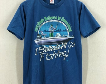 Vintage 80's I Believe I Will Go Fishing 50/50 Soft Tshirt Fits like a Small