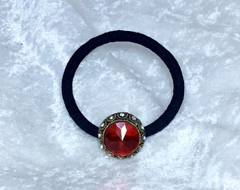 Red Crystal Vintage Pony Tail Holder, Hair Elastic, Hair Tie