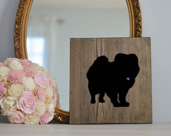 Hand Painted Chow Chow Silhouette on Stained Wood, Dog Decor, Dog Painting, Gift for Dog People, New Puppy Gift
