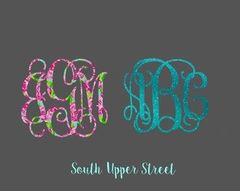 Vine Monogram decal -Lilly Pulitzer Inspired- Glitter decal - Sparkle decal - monogram sticker- decal for yeti -rtic decal - iphone decal