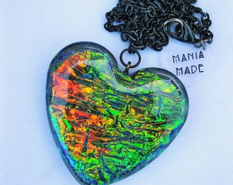 Iridescent Foil Heart Necklace