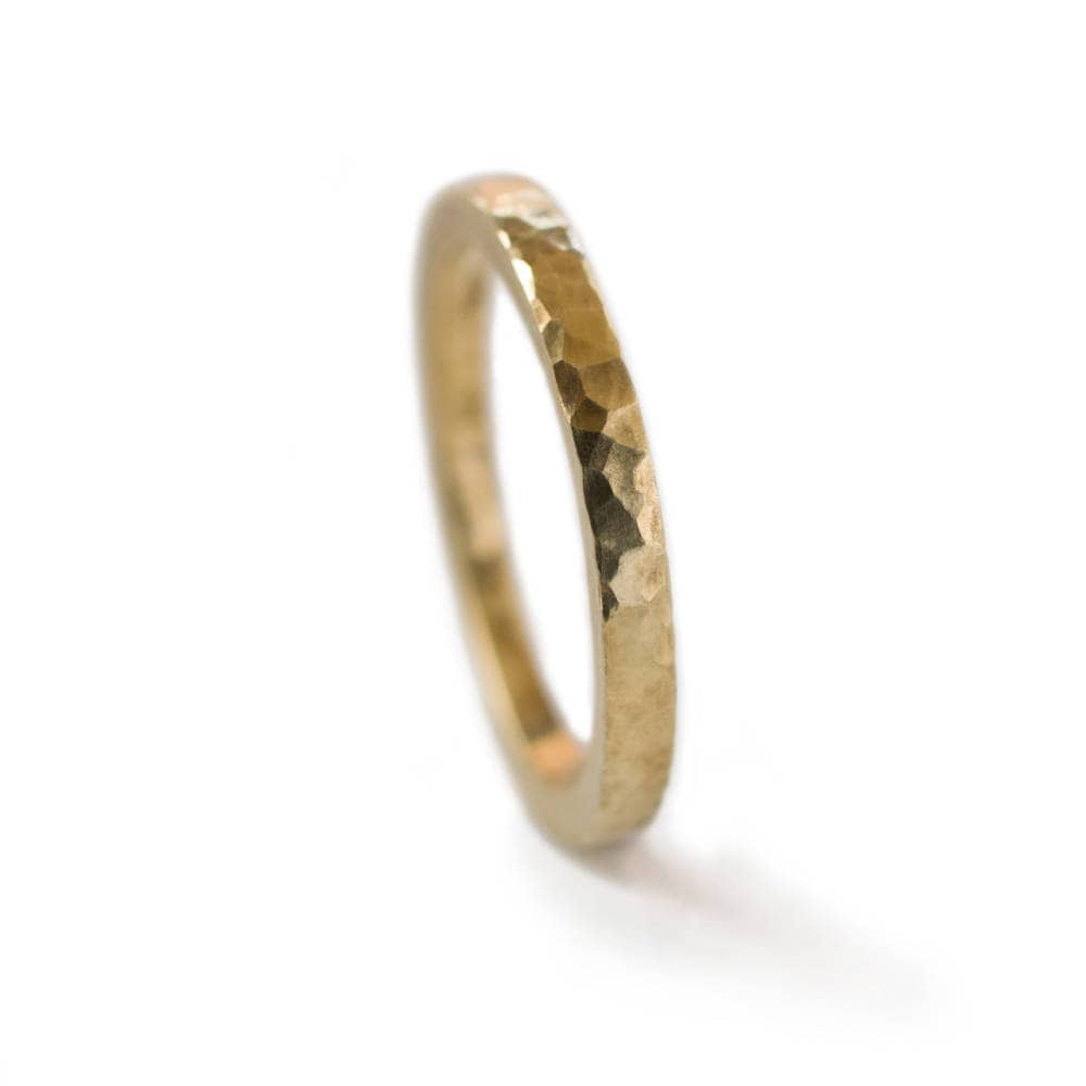 thick 18k gold ring with hammered finish 2mm wedding band
