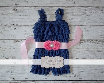 Baby Romper - Navy Romper - Petti Romper, Lace Romper, Girls Romper, Rompers, Ruffle Romper, Petti Lace Romper, Baby Girl Birthday Outfit