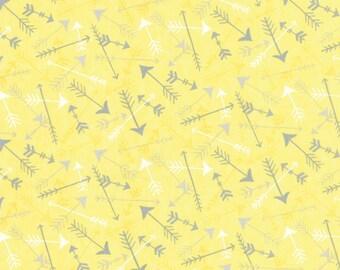 Yellow Arrows Brushed Cotton Quilt Fabric, Moda Hugaboo 19735 14B, Deb Strain, Yellow & Gray Flannel Like Baby Fabric, Cotton