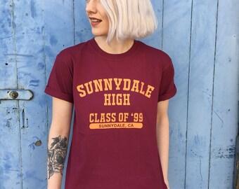 Sunnydale High Varsity Style Burgundy T-Shirt
