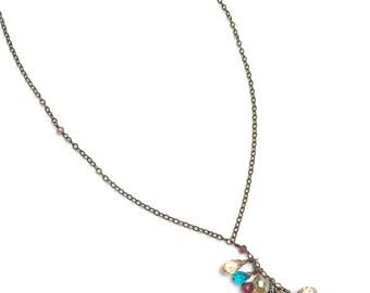 multi briolette drop necklace, briolette charm necklace, briolette cascade necklace, crystal briolette necklace, crystal cascade necklace