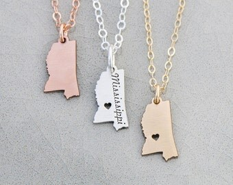 SALE • Mississippi Jewelry State Mississippi Gift State Charm Mississippi State •USA Gift State Pendant • Map Necklace Southern Deep South