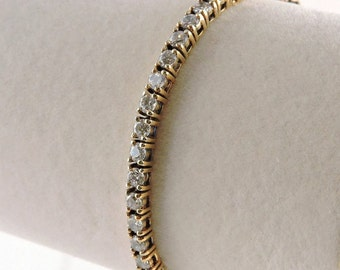 """Sterling Silver Gold Plated And 4.95cttw Rhinestone Tennis Bracelet 6 1/2"""" For Smaller Wrist"""