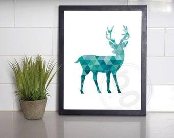 Geometric Deer Print, Aqua Wall Decor, INSTANT DOWNLOAD